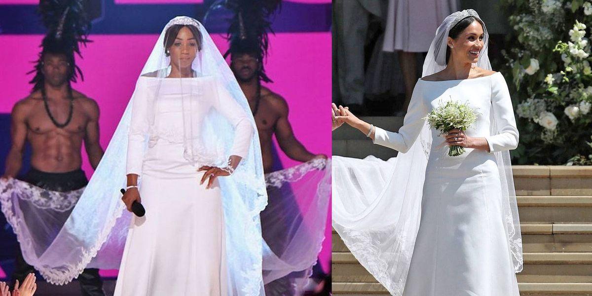 Presentadora de los MTV Movie & TV Awards se burla del vestido de novia de Meghan Markle