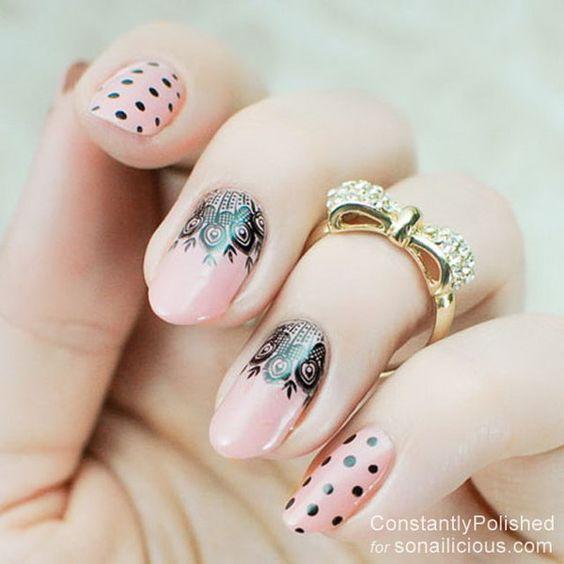 diseños de uñas con encajes