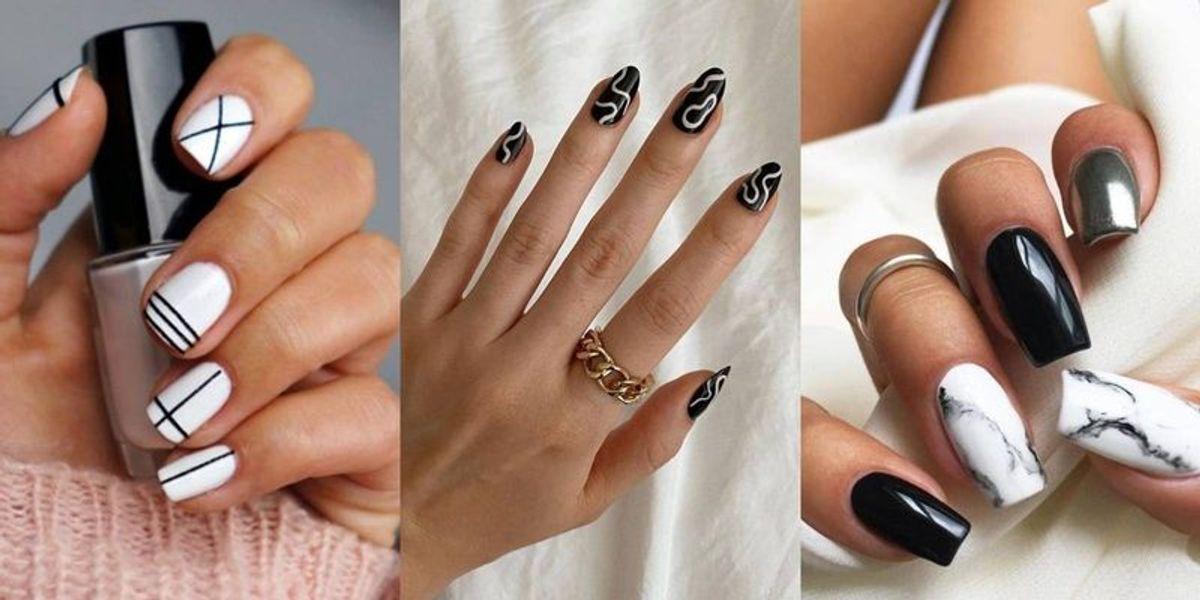 Uñas delicadas: conoce los diseños blanco y negro con estilo minimalista
