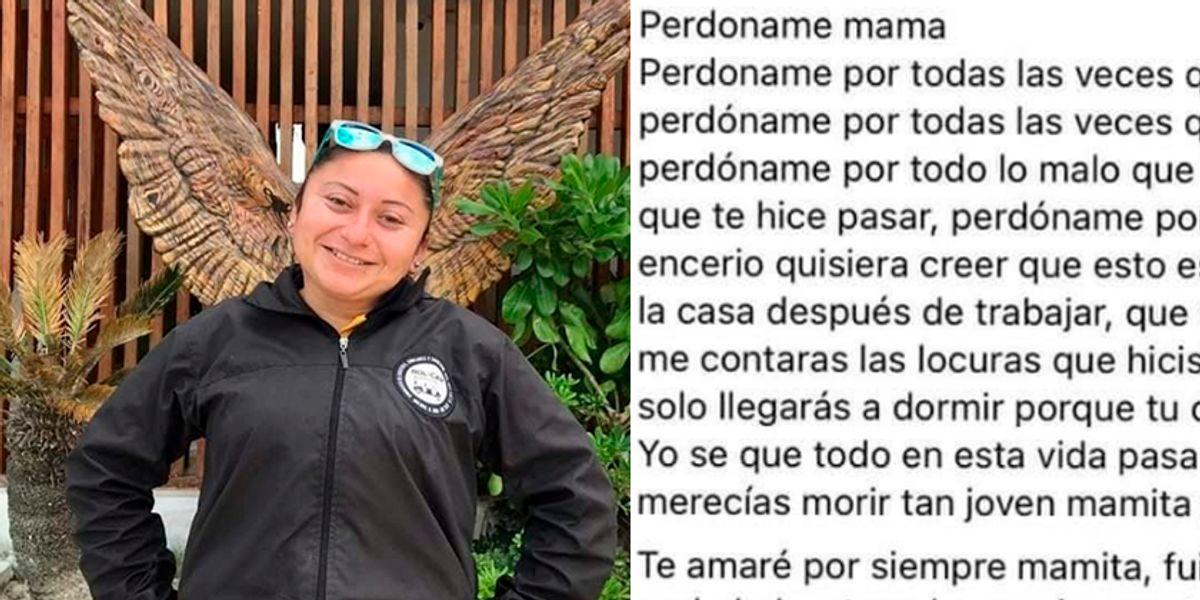 """""""Perdóname mamá"""", la carta del hijo de una mujer víctima de feminicidio"""