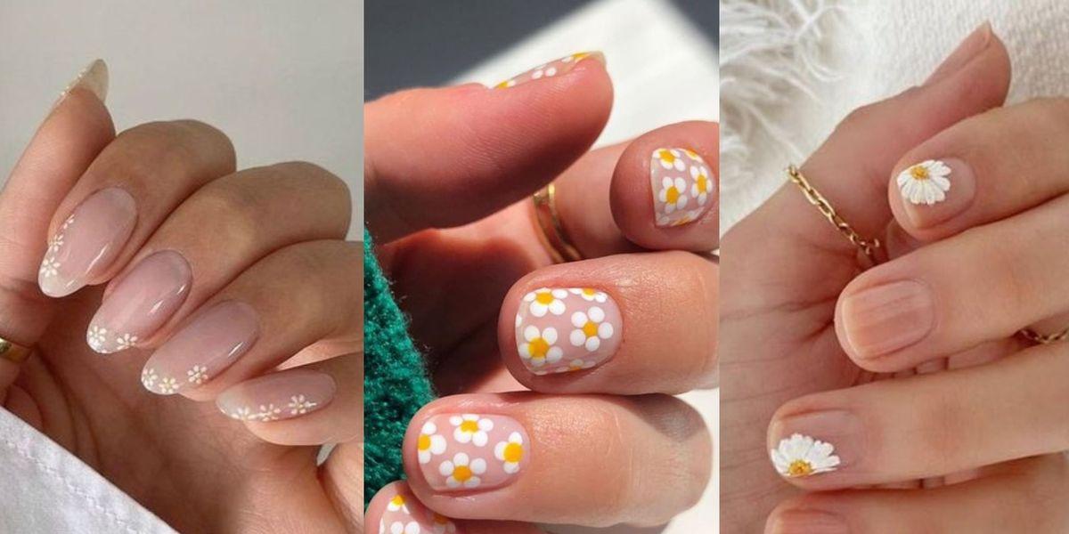 Diseños de uñas florales sobre base transparente que son elegantes y naturales