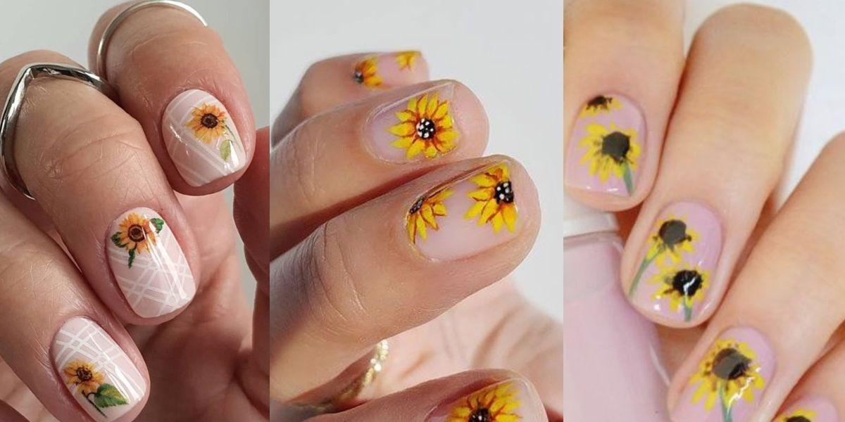 Uñas de girasol sencillas y muy femeninas para probar algo distinto en verano