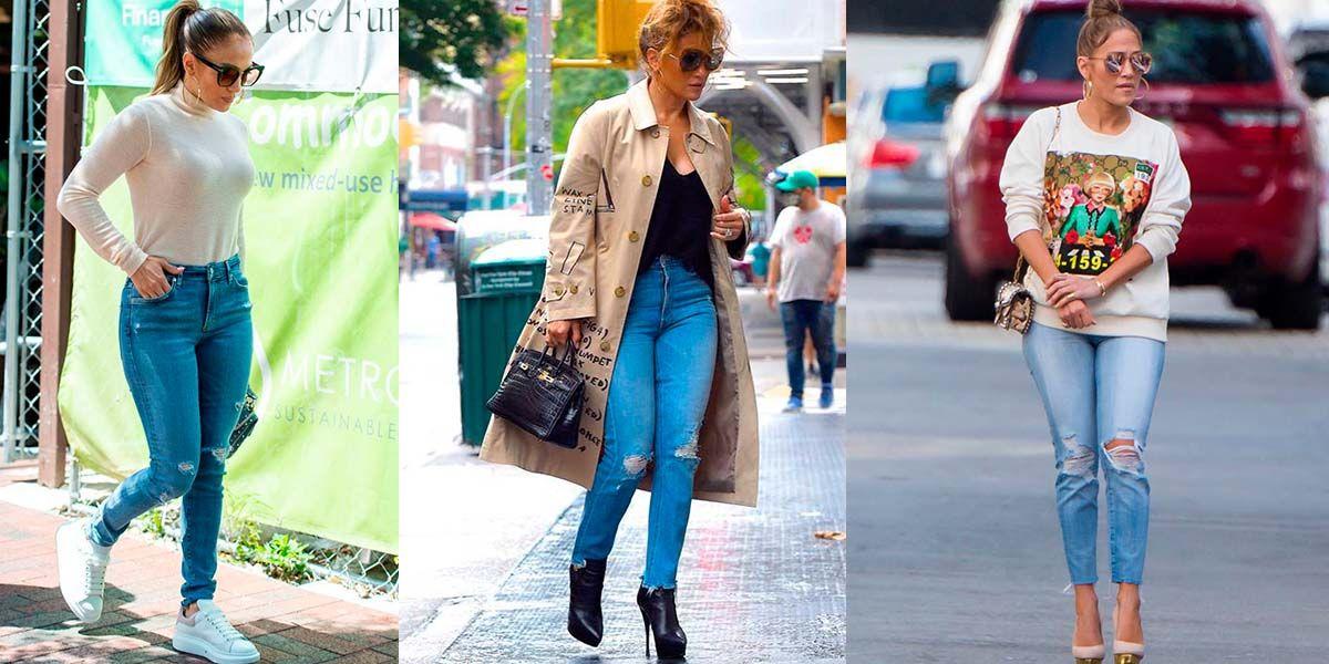 Jennifer Lopez enseña cómo llevar jeans rotos de la forma más elegante a los 50